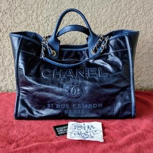 CHANEL Bags - Chanel Deauville Navy Glazed Large Calfskin Tote